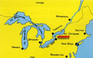 Ниагарский водопад на карте и близлежащие озера